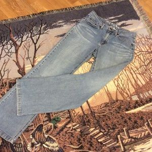 Women's MERONA Mid Rise Boot Cut, 8, blue jeans.